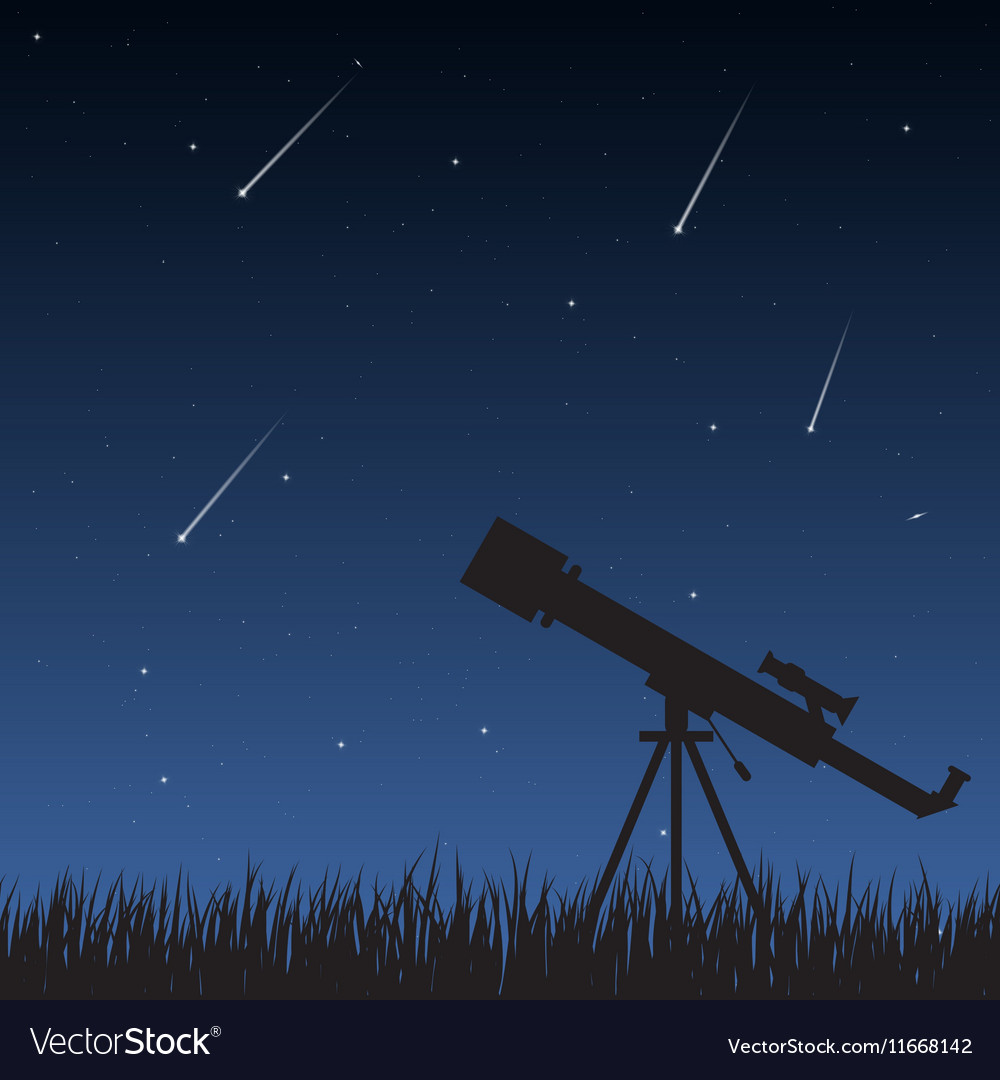 Night sky with telescope vector
