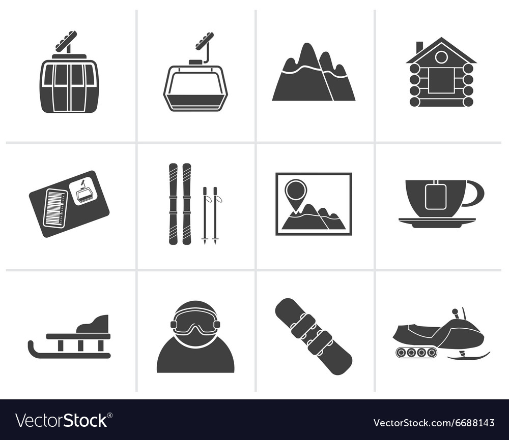 Black ski track and sport icons vector