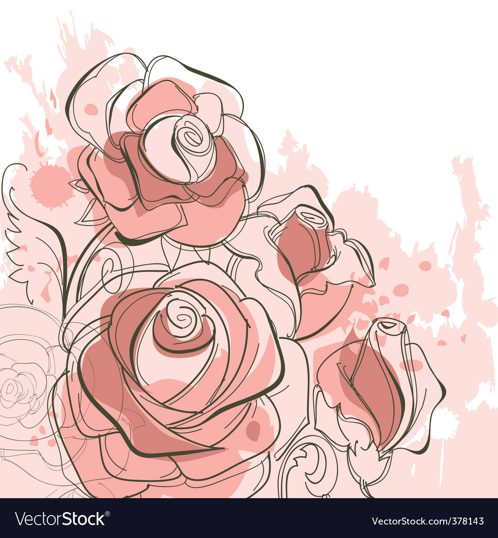 Grunge roses vector