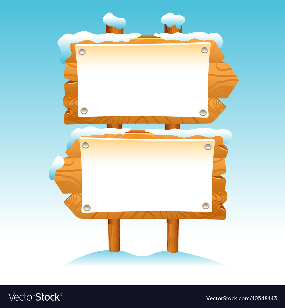Wooden sign snow winter post icon symbol label set vector