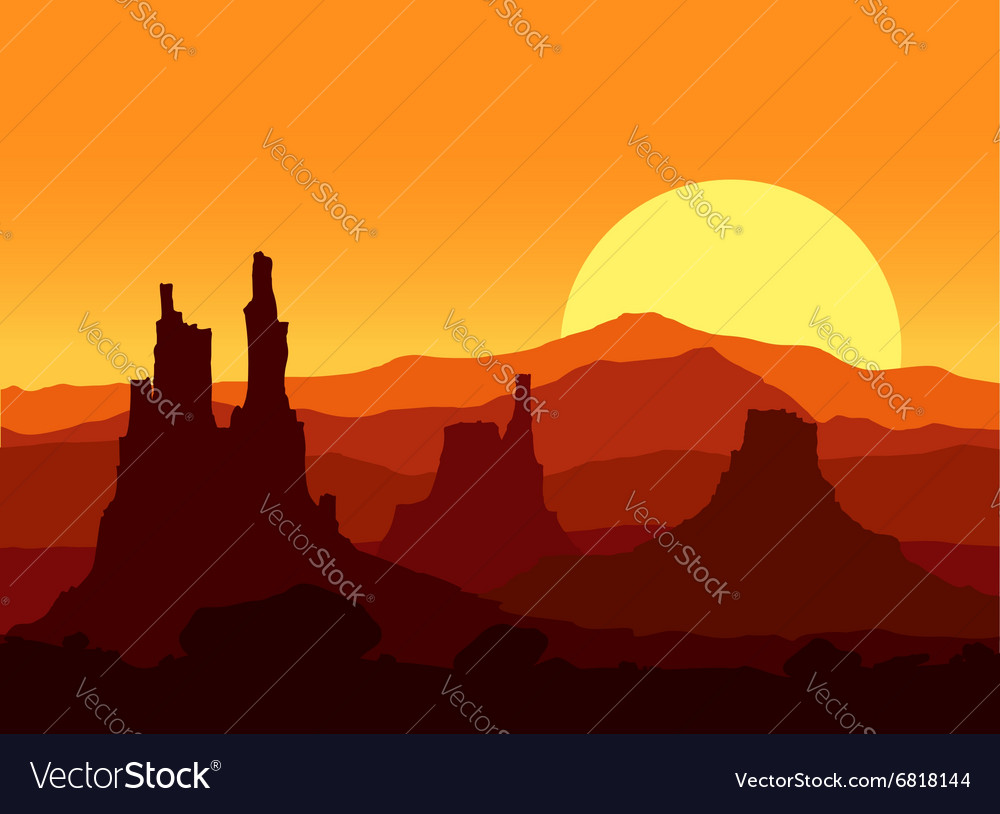 Sunset in the rocky mountains vector