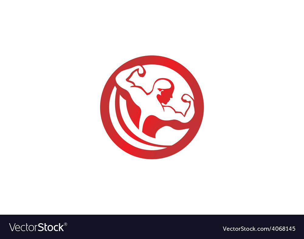 Fitness body building man logo vector