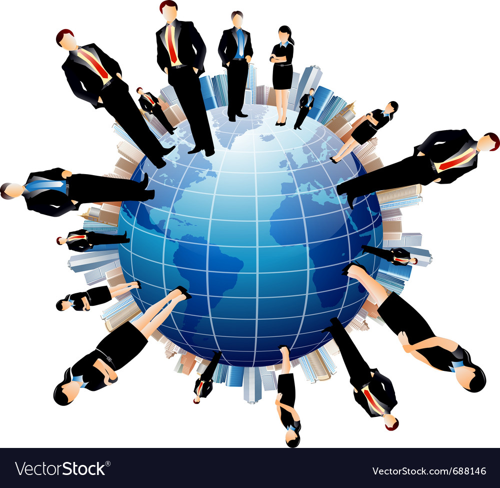 Businessmen world vector