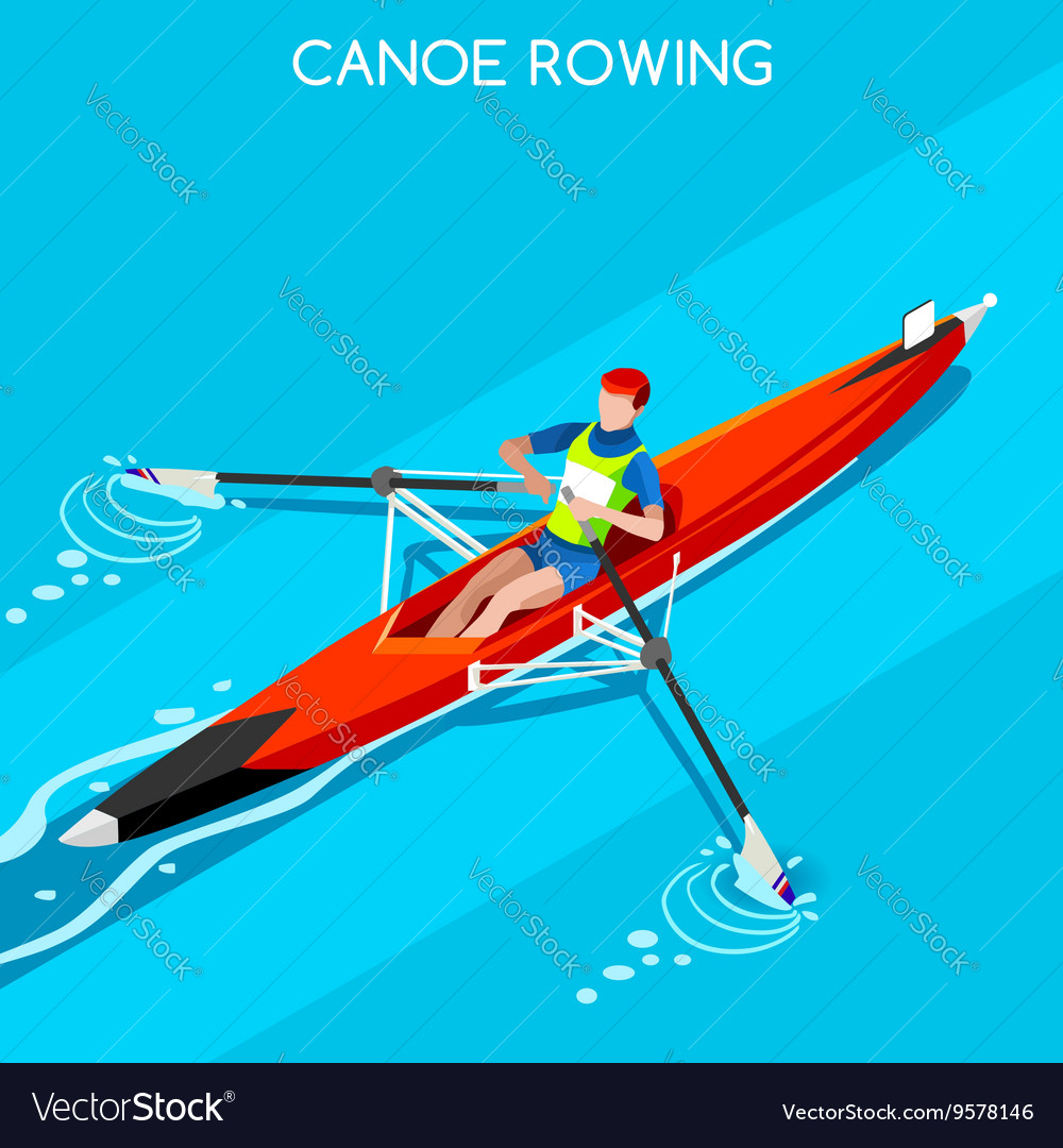 Canoe rowing single 2016 summer games 3d vector