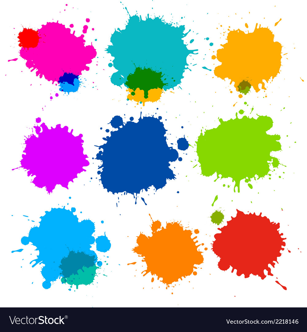 Colorful transparent stains blots splashes set vector