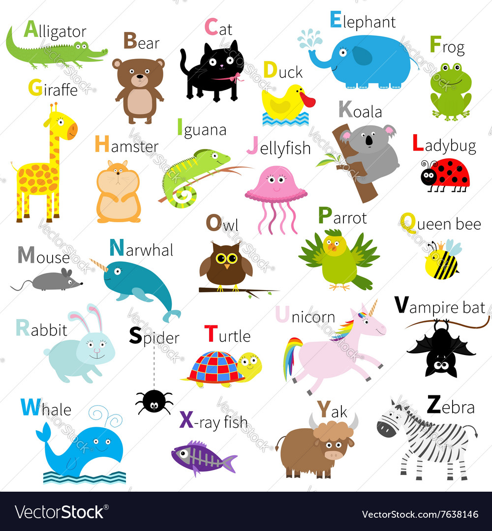 Zoo animal alphabet cute cartoon character set vector