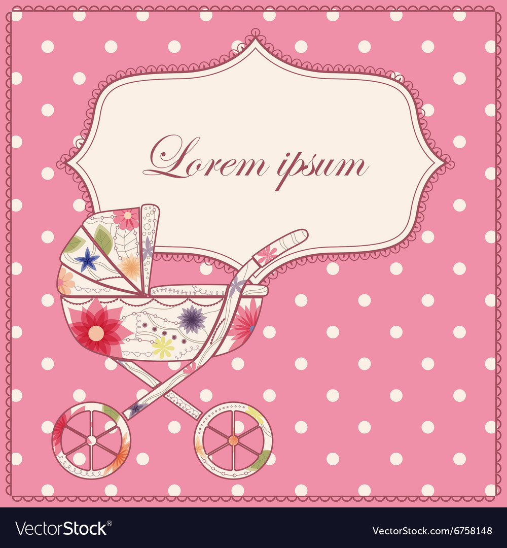 Background with baby carriage vector