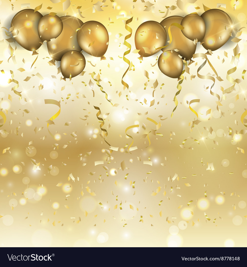 Gold balloons and confetti background 0305 vector