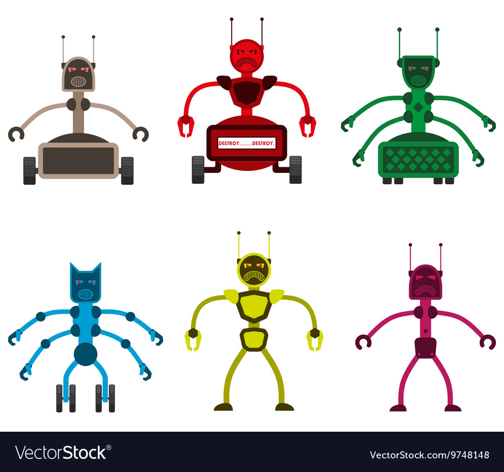 Set of angry robots vector