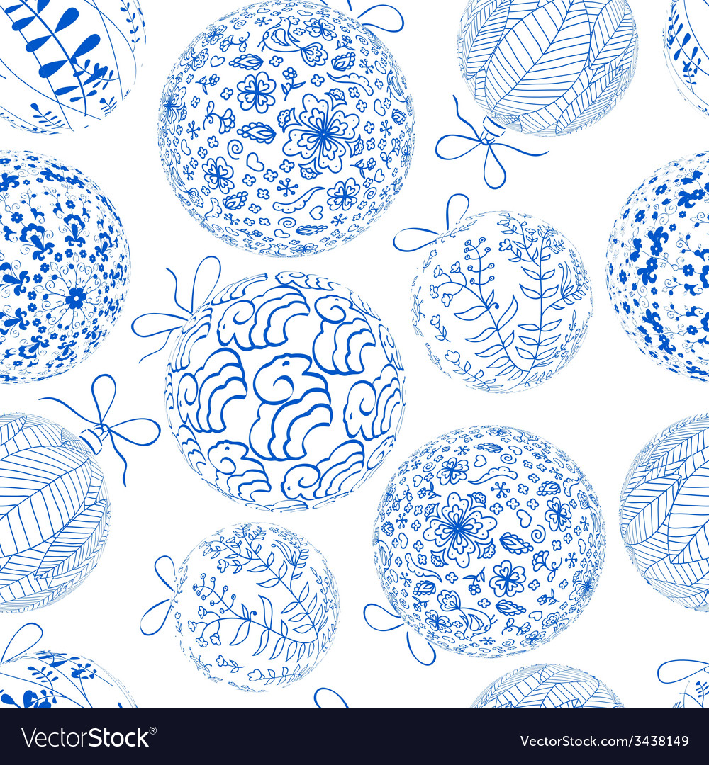 Christmas blue seamless pattern vector