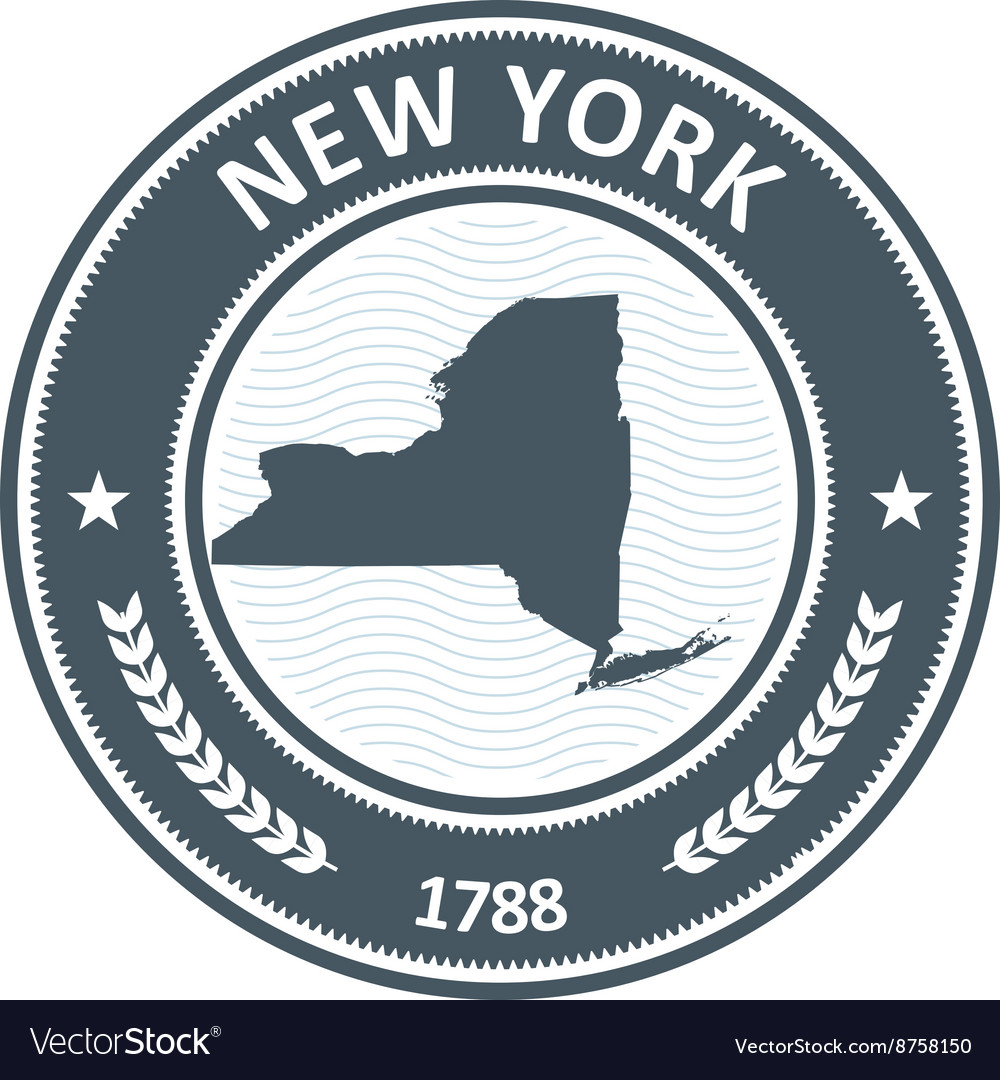 New york stamp with state map silhouette vector