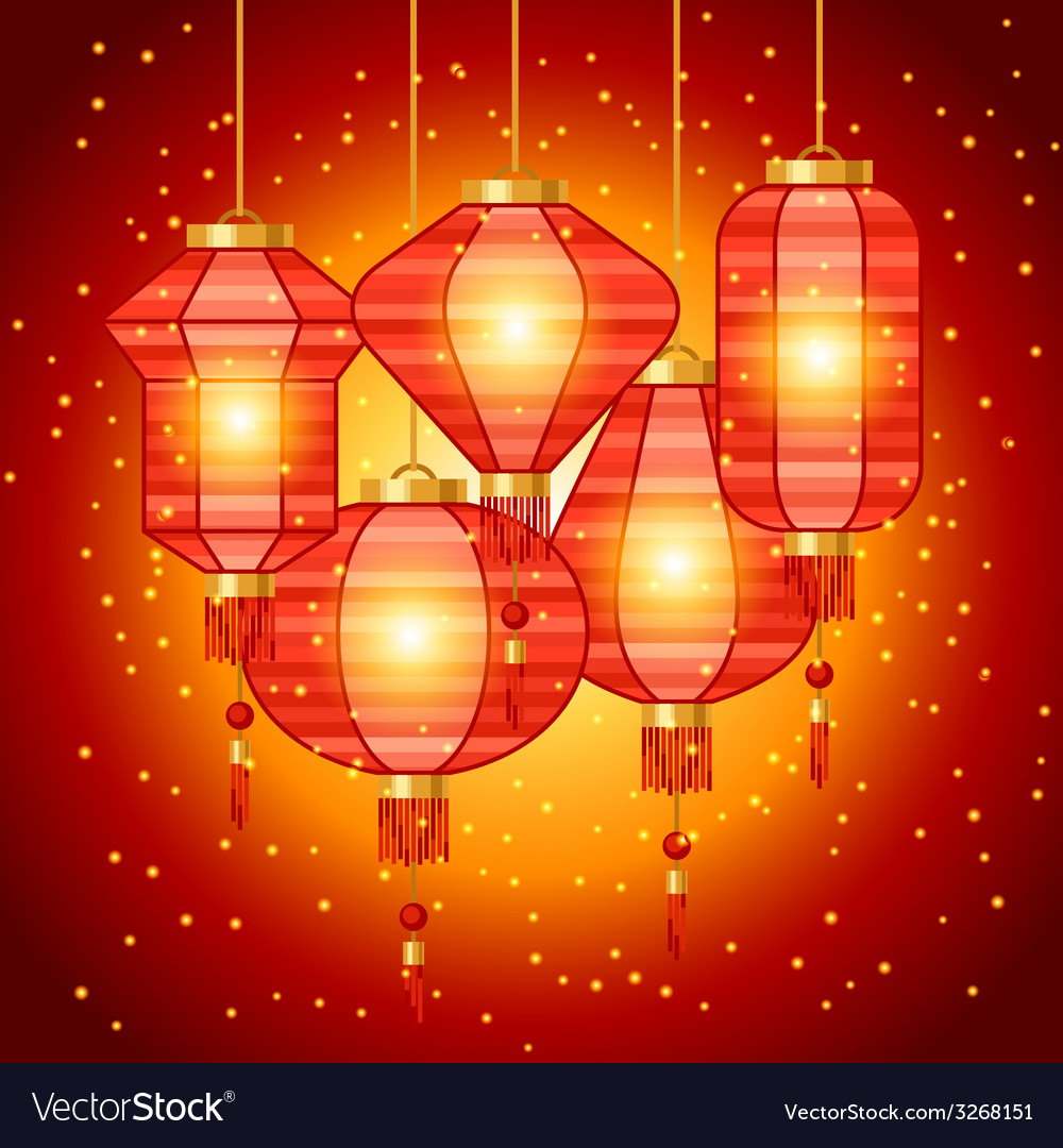 Chinese new year background design with lanterns vector