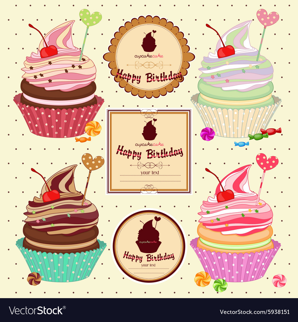 Set cakes cupcakes vector