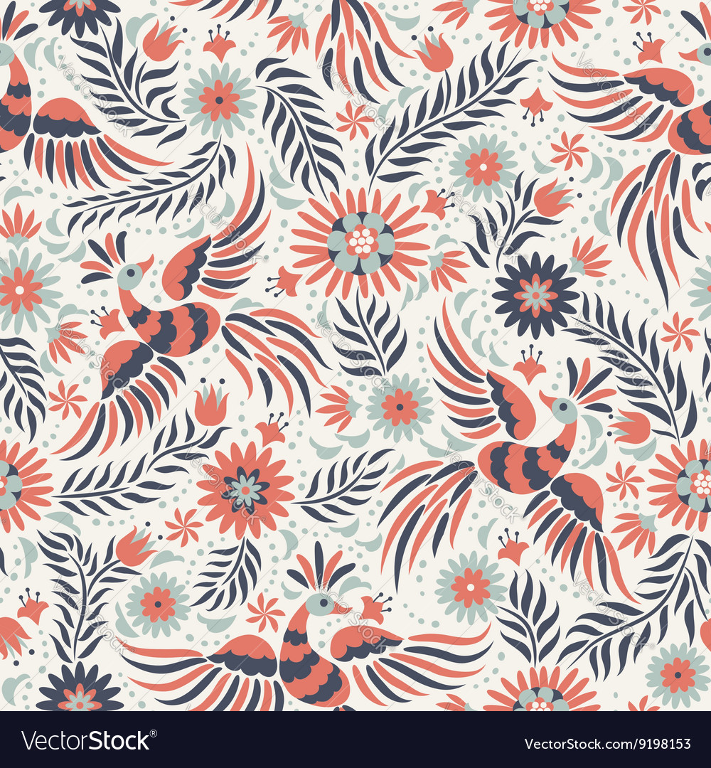 Mexican embroidery seamless pattern vector