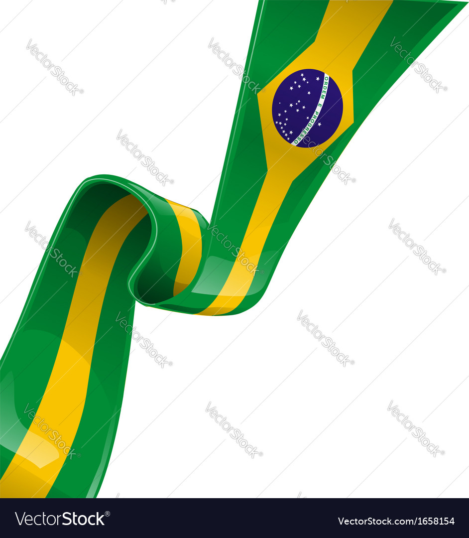 Brazil ribbon flag vector