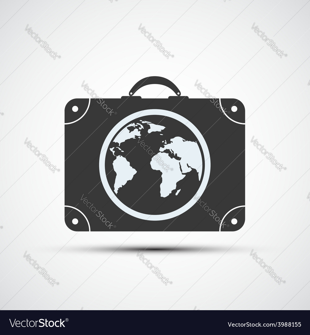 Icons travel suitcases vector