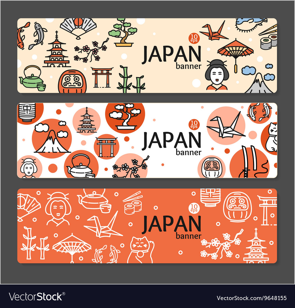 Japan banner card set vector