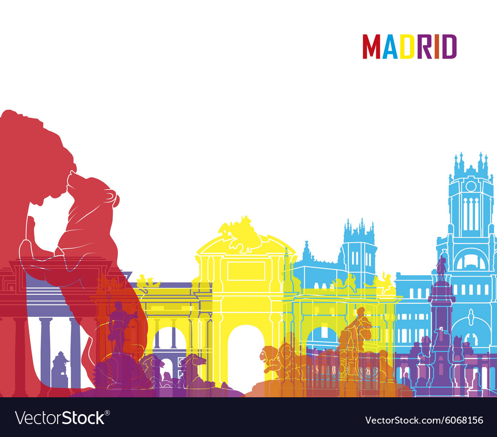 Madrid skyline pop vector