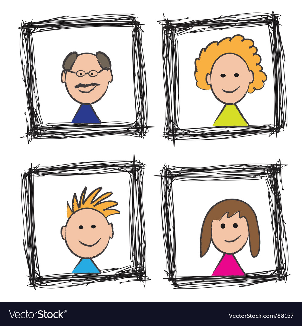 Family portrait sketch vector