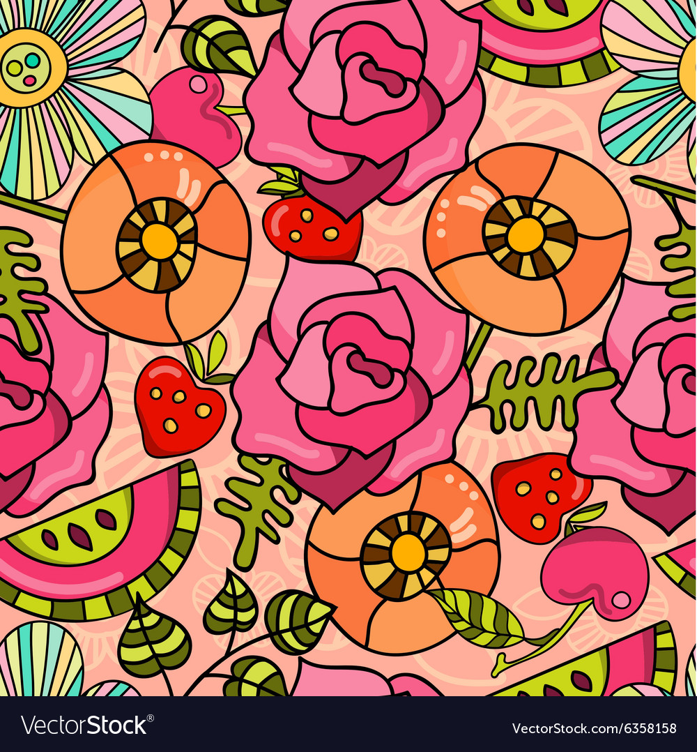 Bright juicy summer pattern of poppies roses and vector
