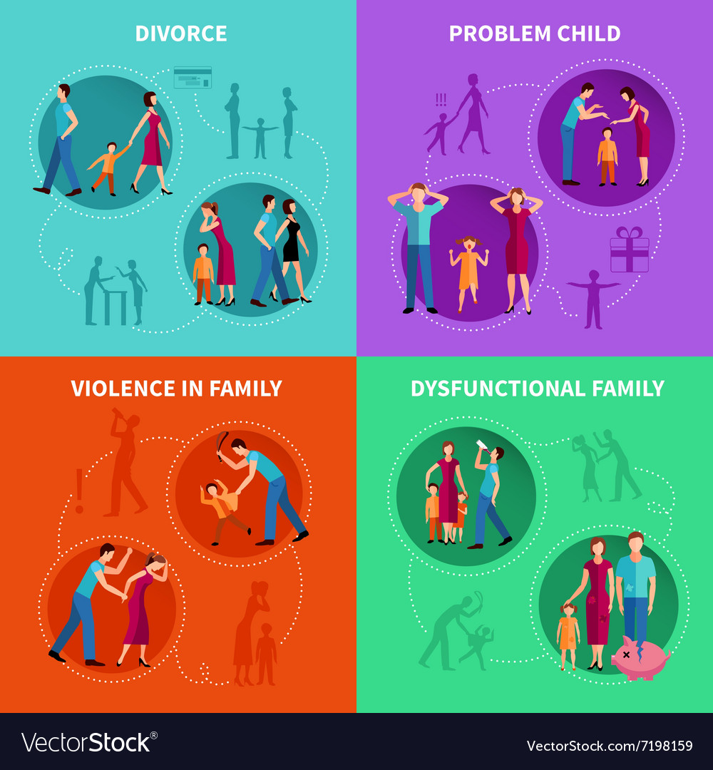 Family problems decorative icons set vector