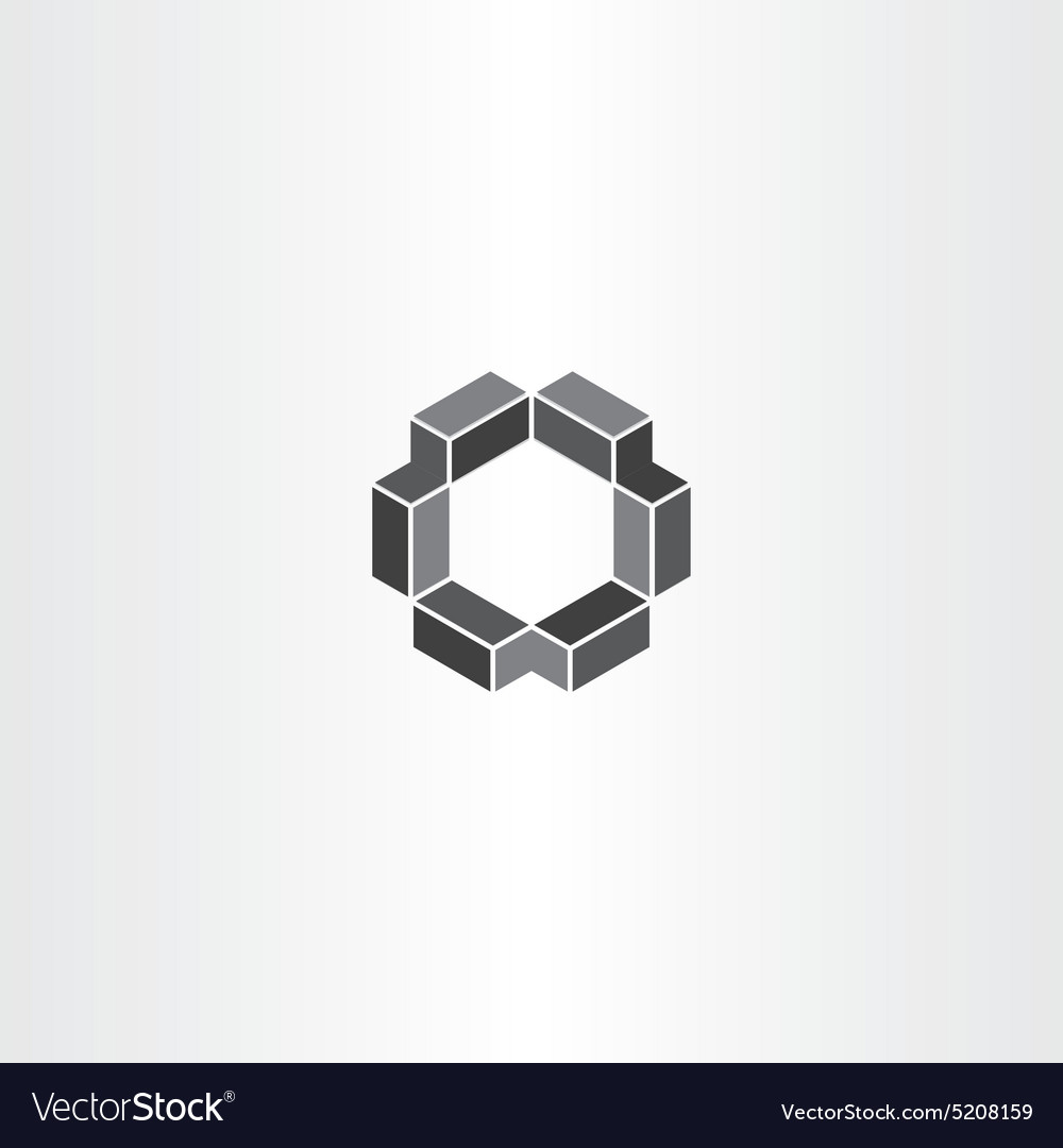 Geometrical 3d hexagon icon vector