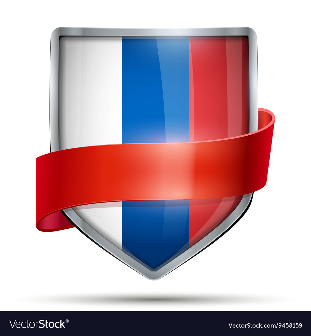 Shield with flag russia and ribbon vector
