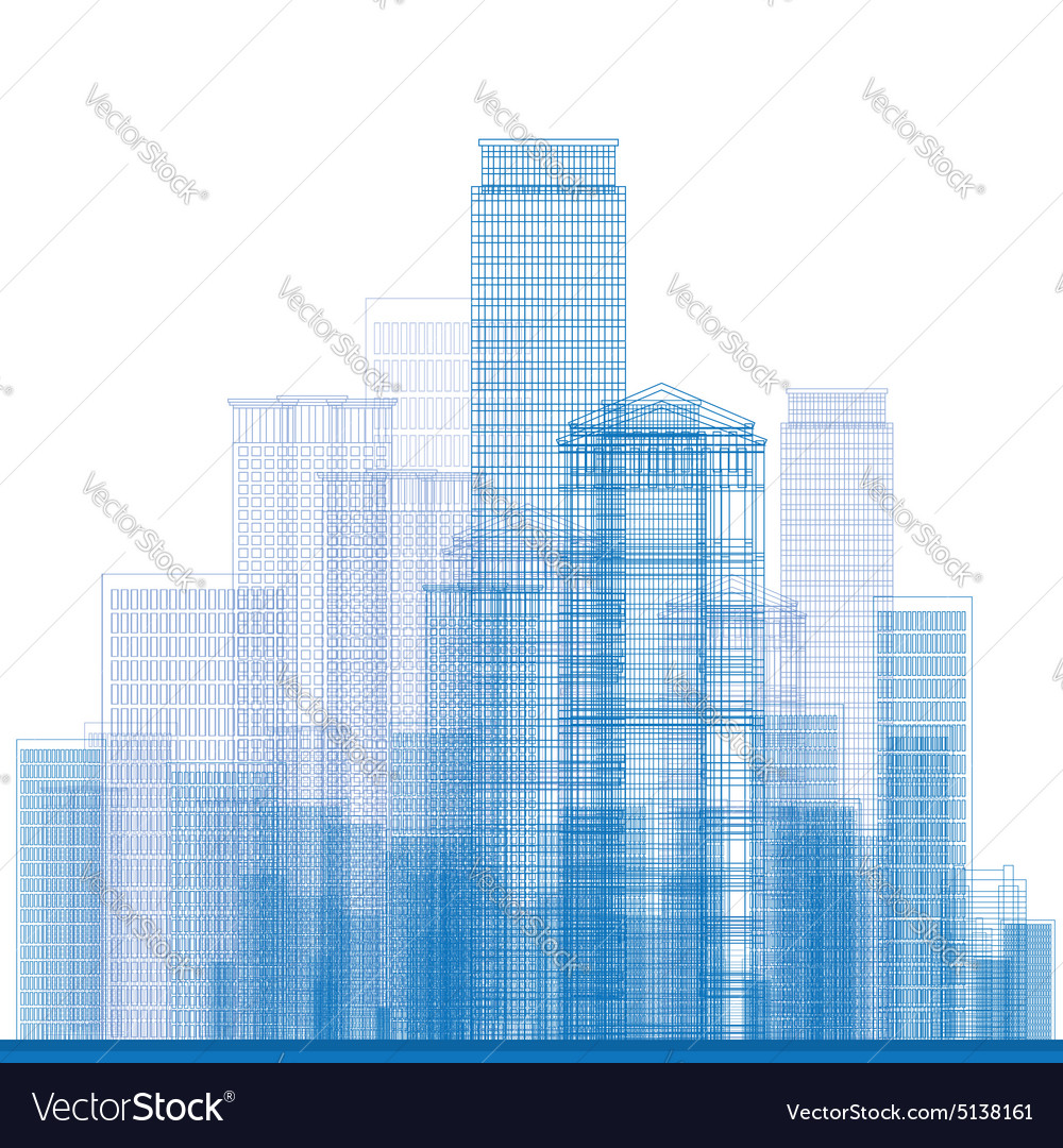 Outline city skyscrapers vector
