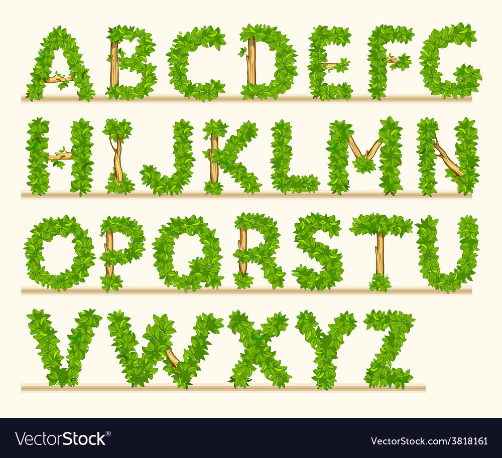 Stylized font of green leaves vector