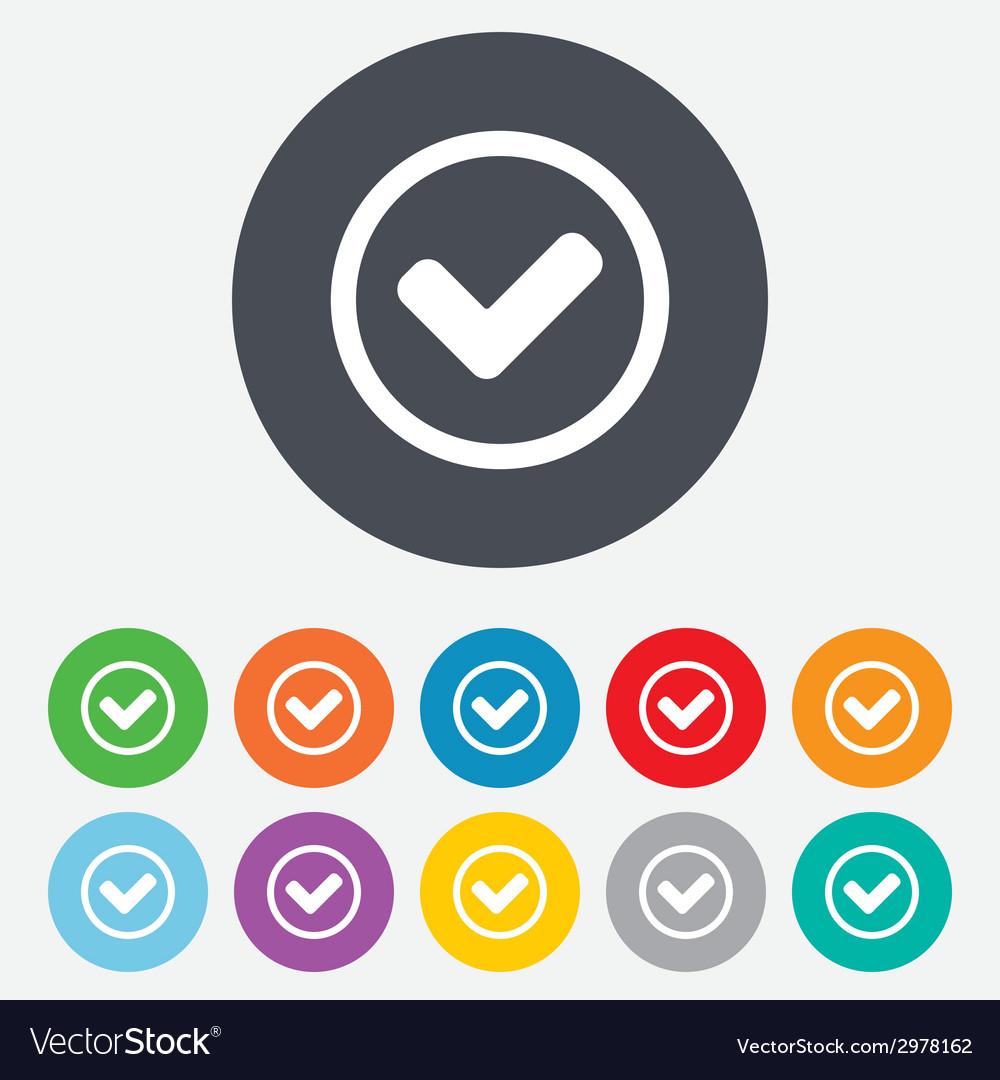 Check mark sign icon yes circle symbol vector