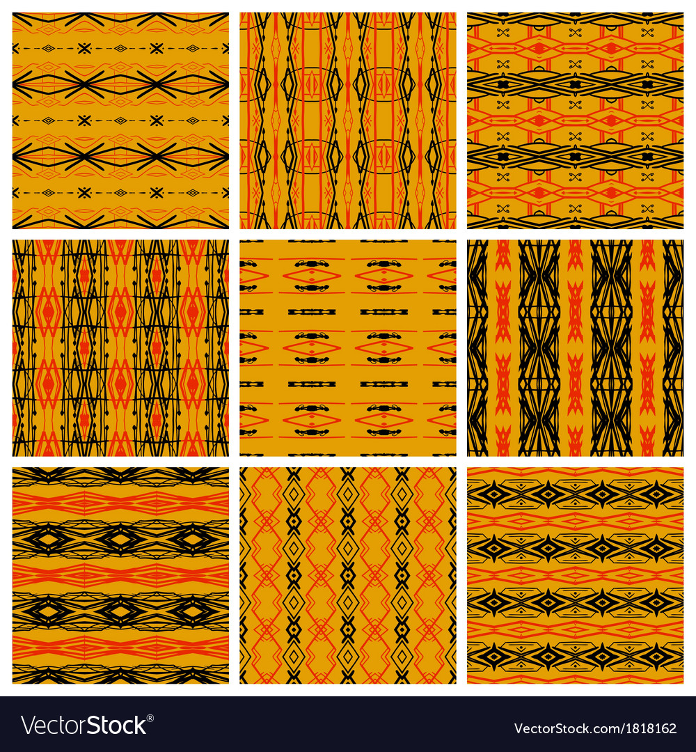 Set of nine tribal patterns vector