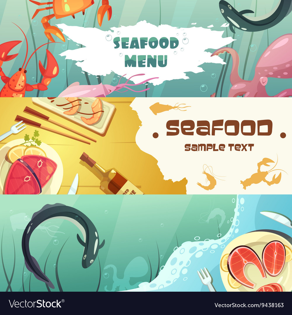 Seafood menu banners vector