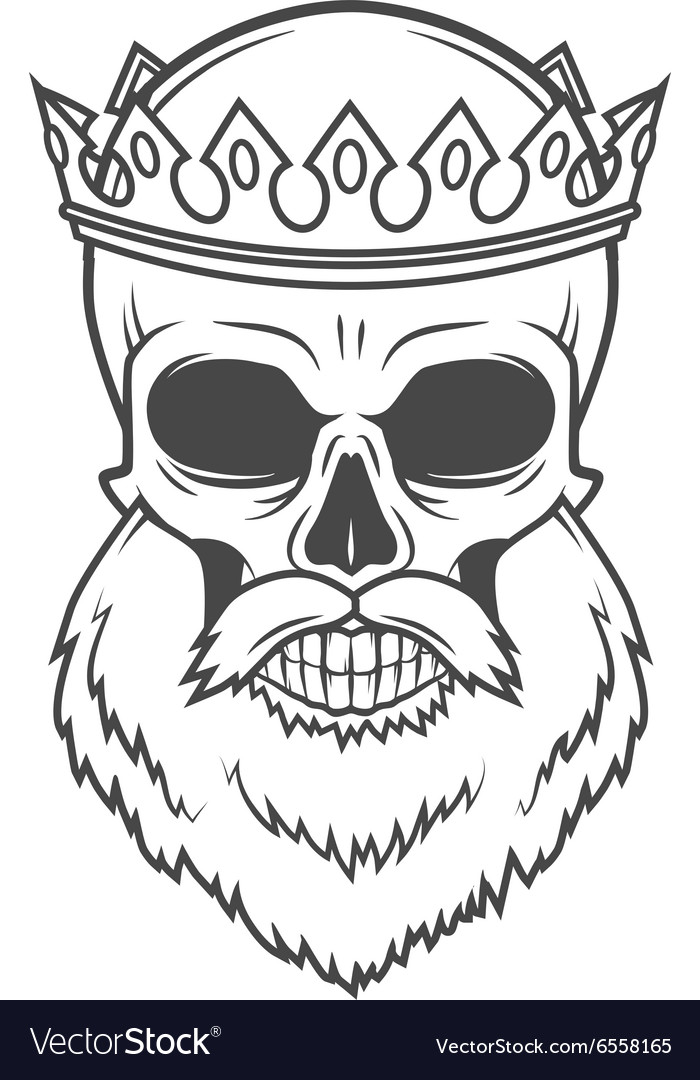 Bearded skull king with crown design vector