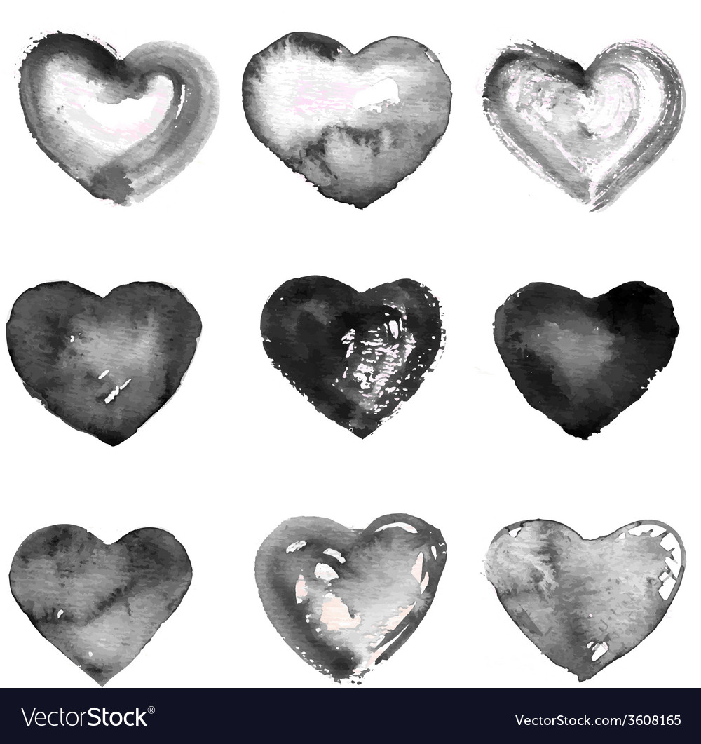 Collection of nine water color black hearts vector