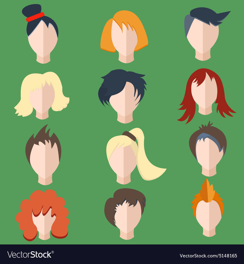 Set isolated men women wigs vector