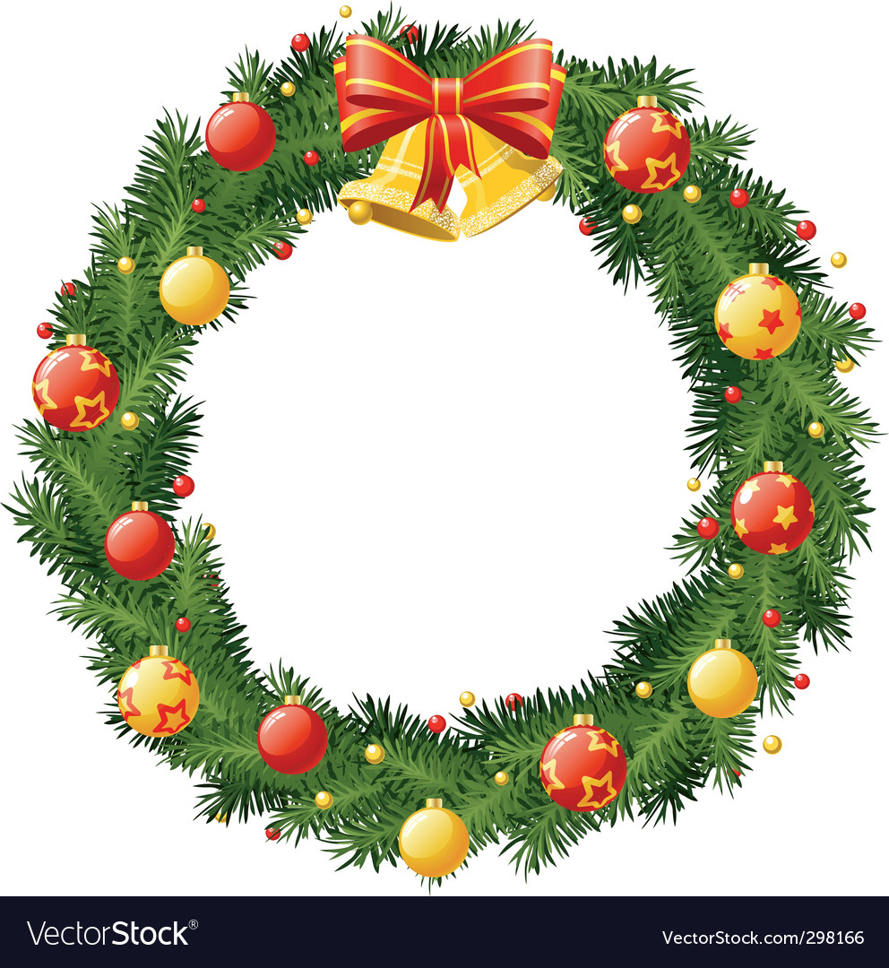 Christmas wreath with golden b vector