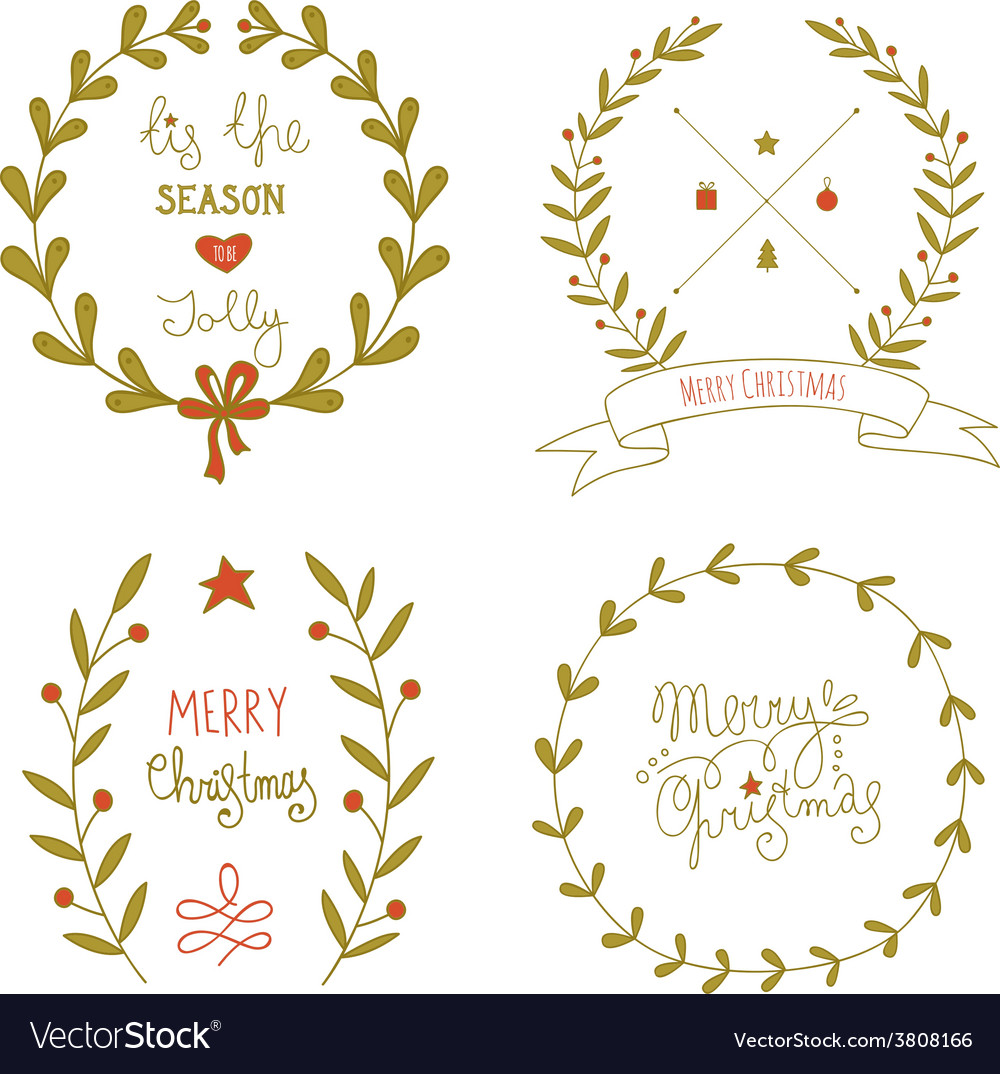 Christmas wreaths set with greeting messages vector