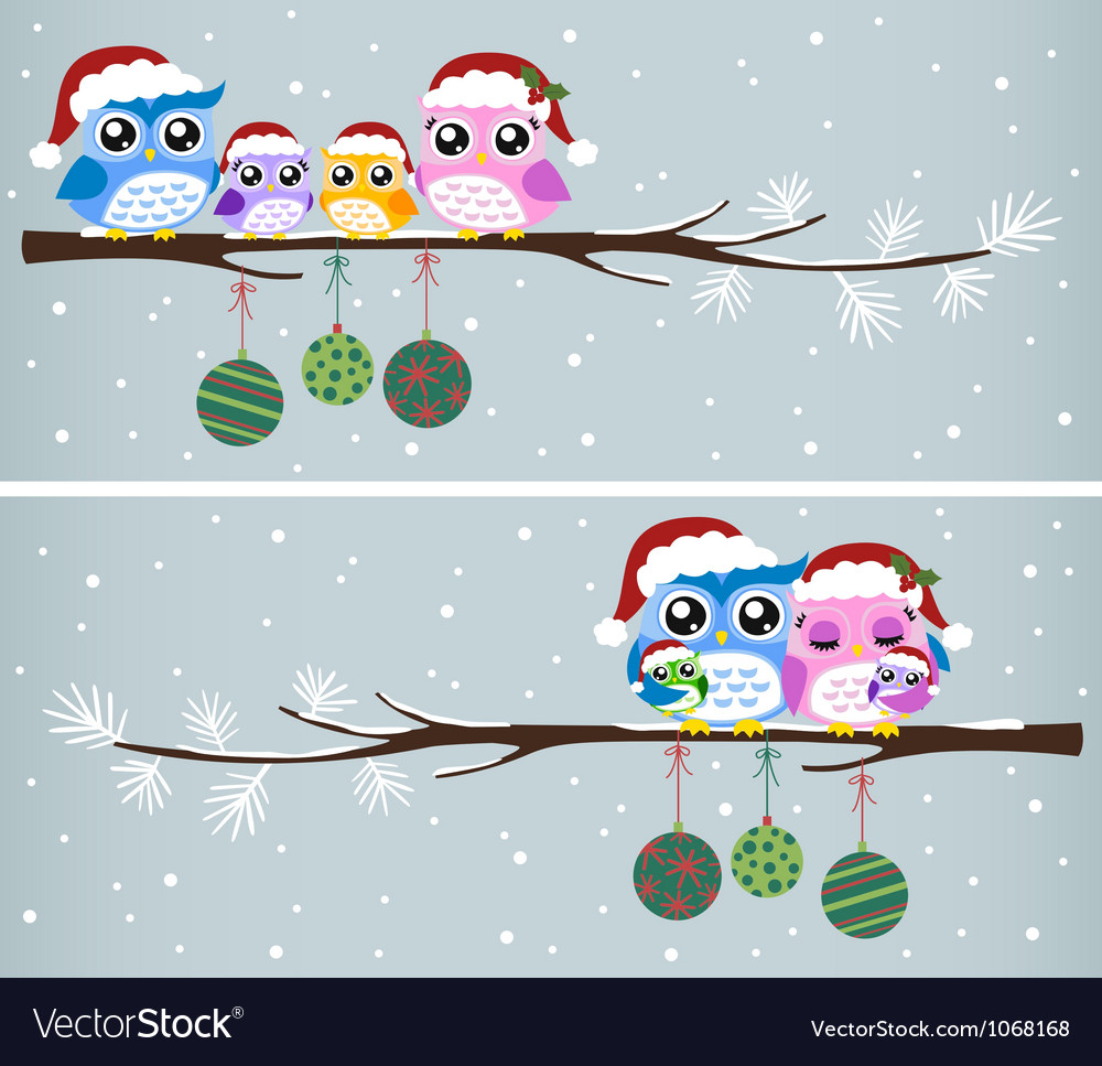 Owl christmas tree card vector
