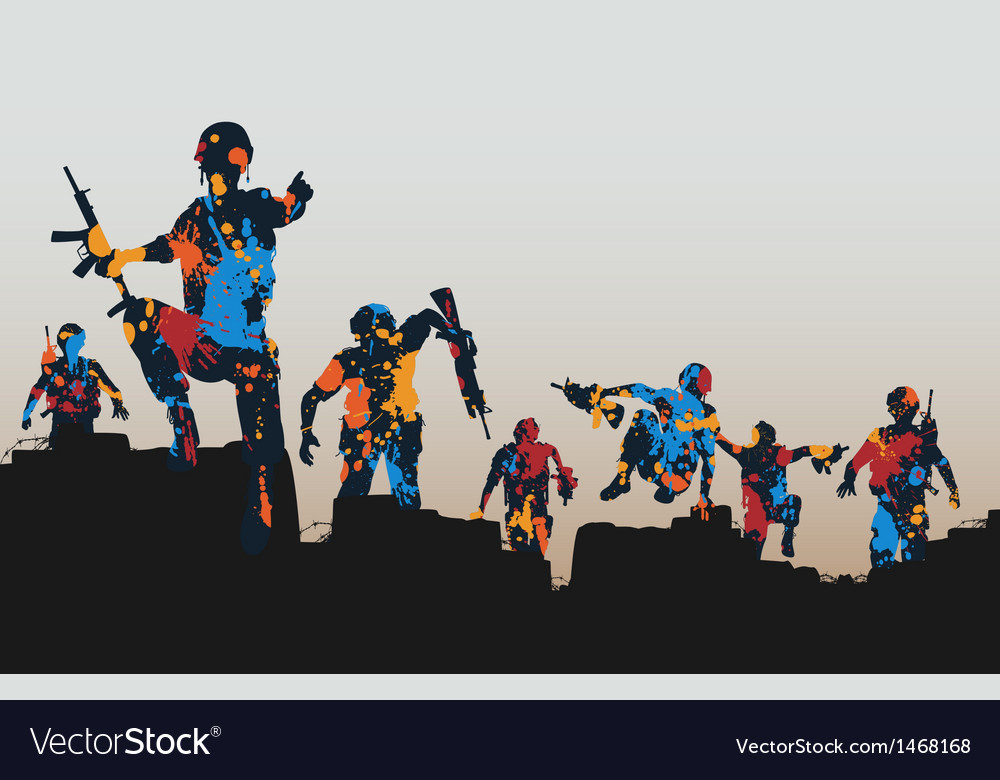 Paintball soldiers vector