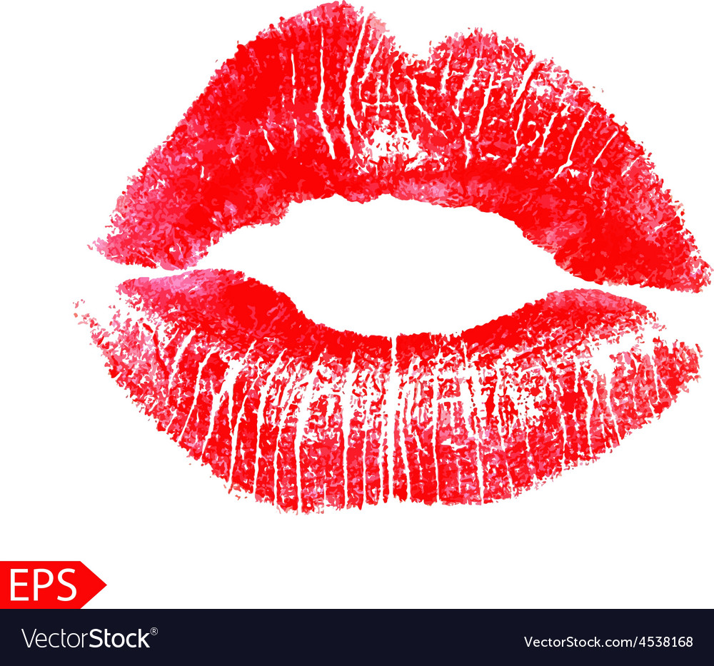 Print of pink lips on a white vector