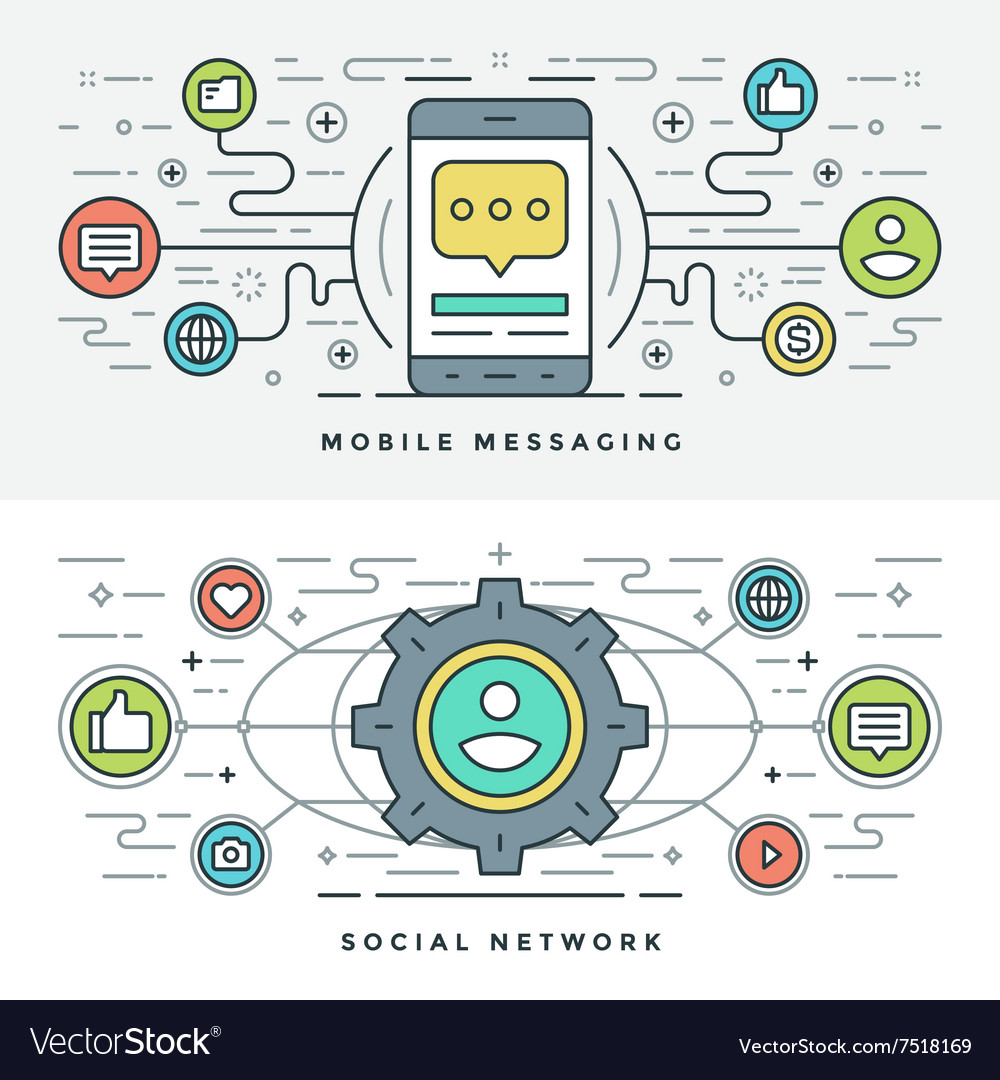 Flat line social media and mobile messaging vector