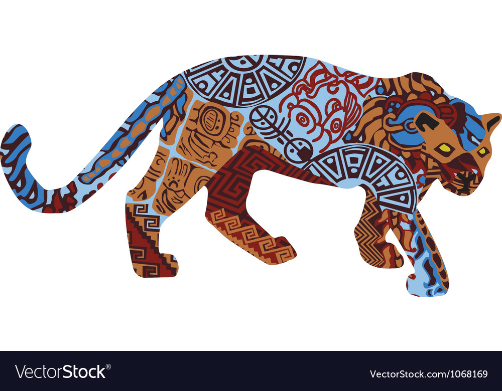 Jaguar in the ethnic pattern of indians vector