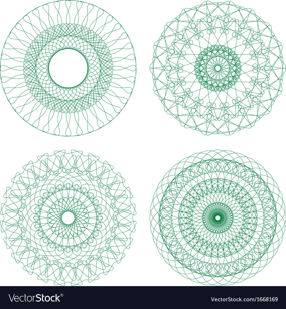 Set of green guilloche rosettes vector