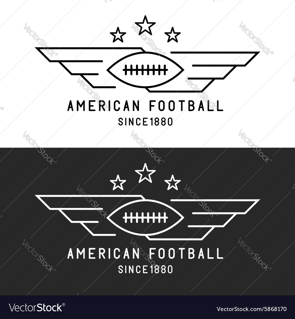 American football ball logo flying with wings vector