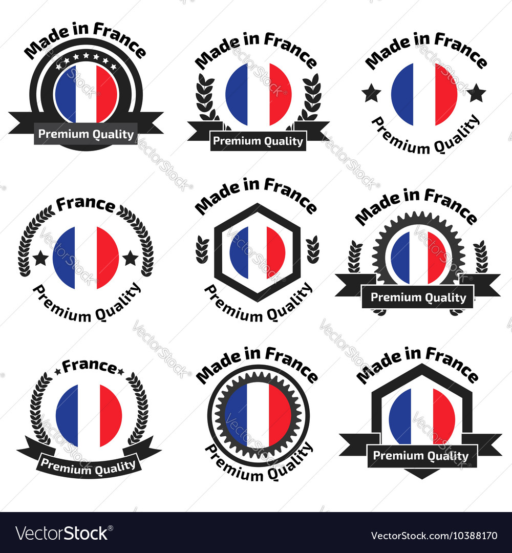 Made in fance badge set vector