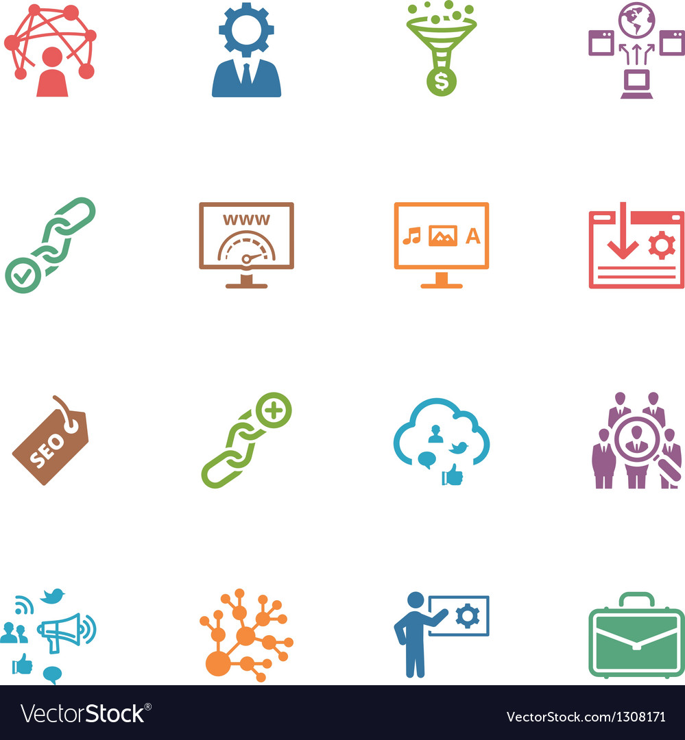 Seo and internet marketing colored icons  set 2 vector