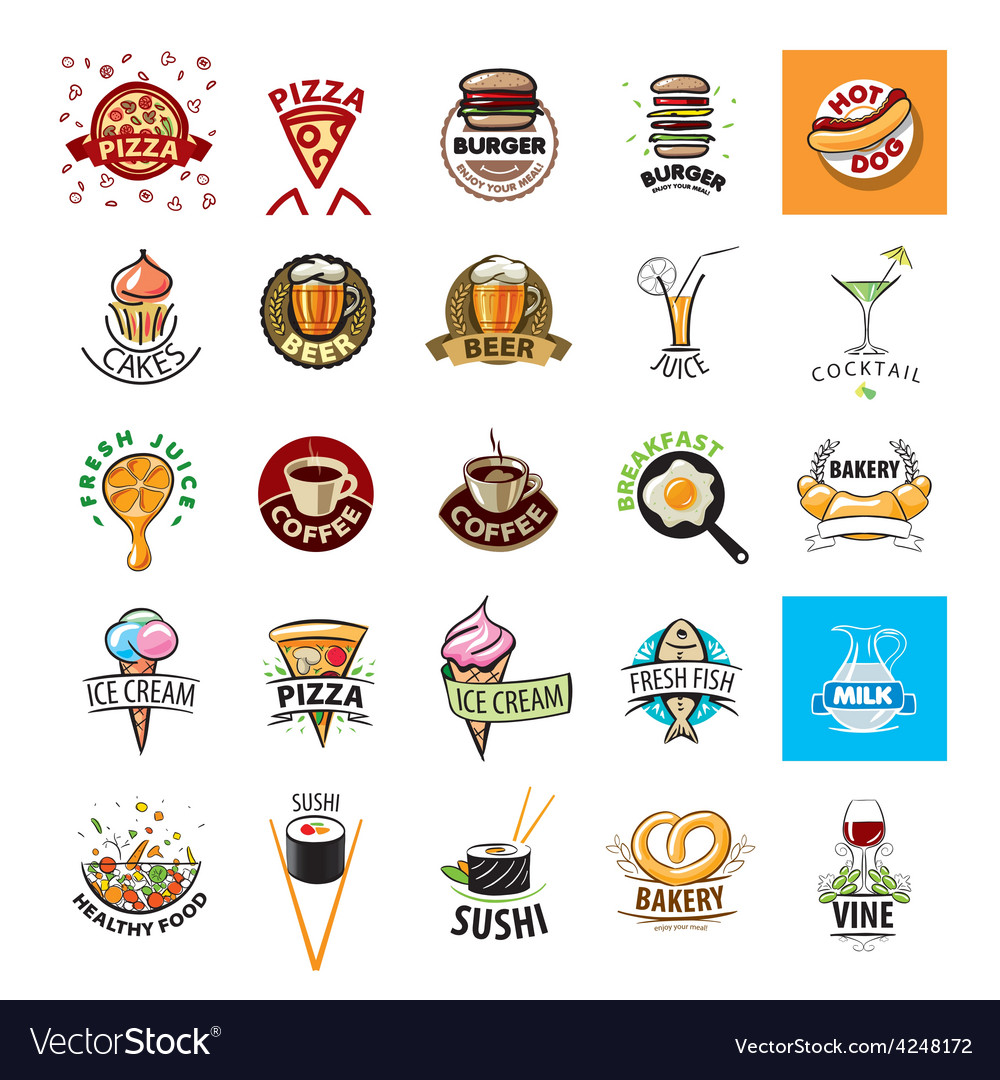 Biggest collection of logos food vector