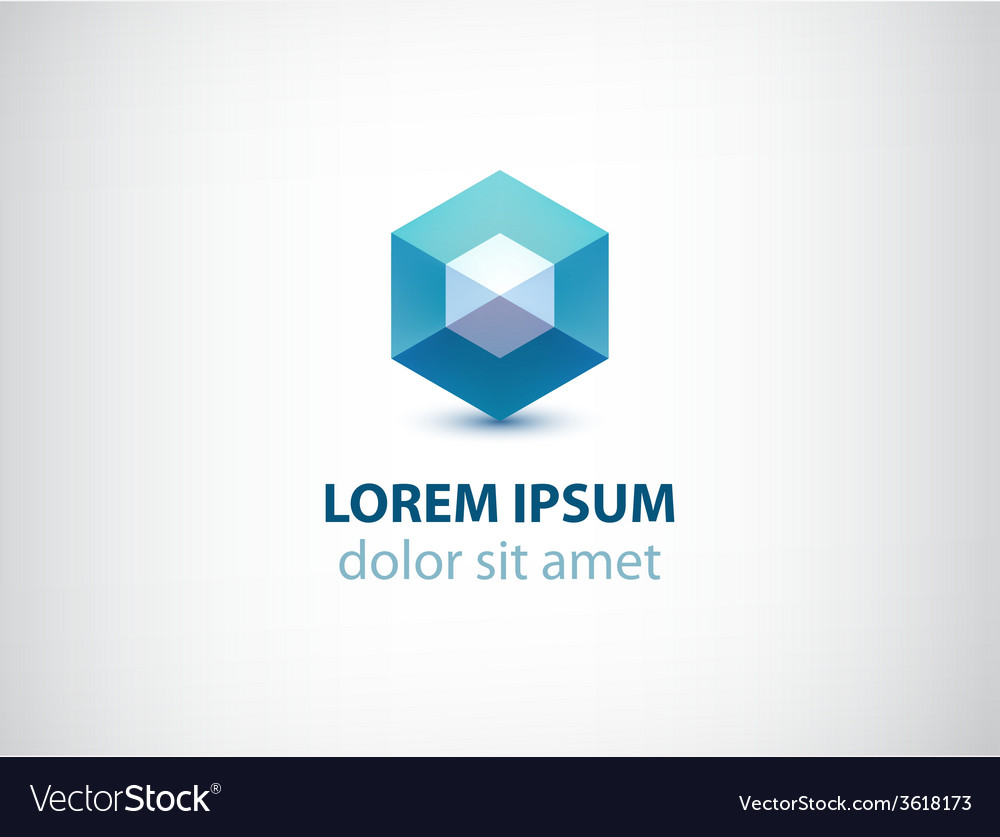 Abstract geometric crystal logo vector