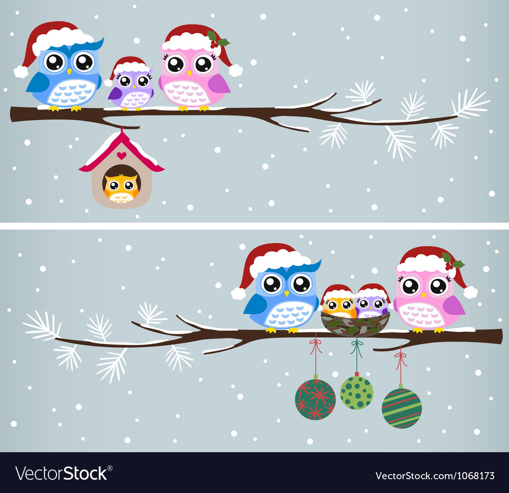 Owl christmas celebration design vector