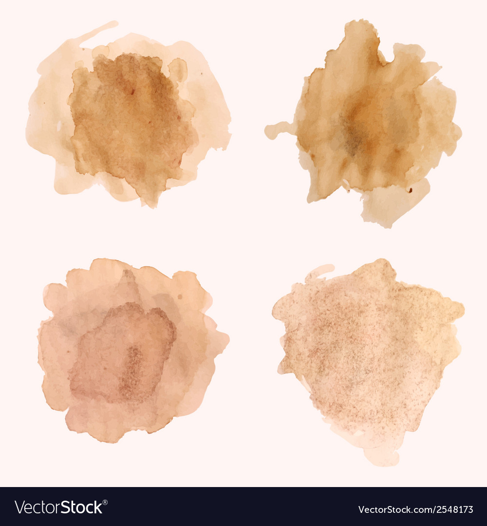 Set of blots and splashes of spilled coffee vector